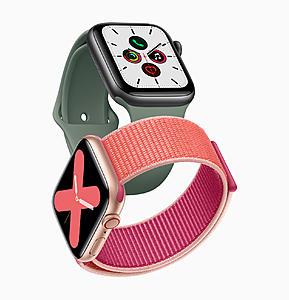 Πατήστε στην εικόνα για να τη δείτε σε μεγέθυνση.  Όνομα:  Apple_watch_series_5-gold-aluminum-case-pomegranate-band-and-space-gray-aluminum-case-pine-green.jpg Εμφανίσεις:  518 Μέγεθος:  765,1 KB ID: 206714
